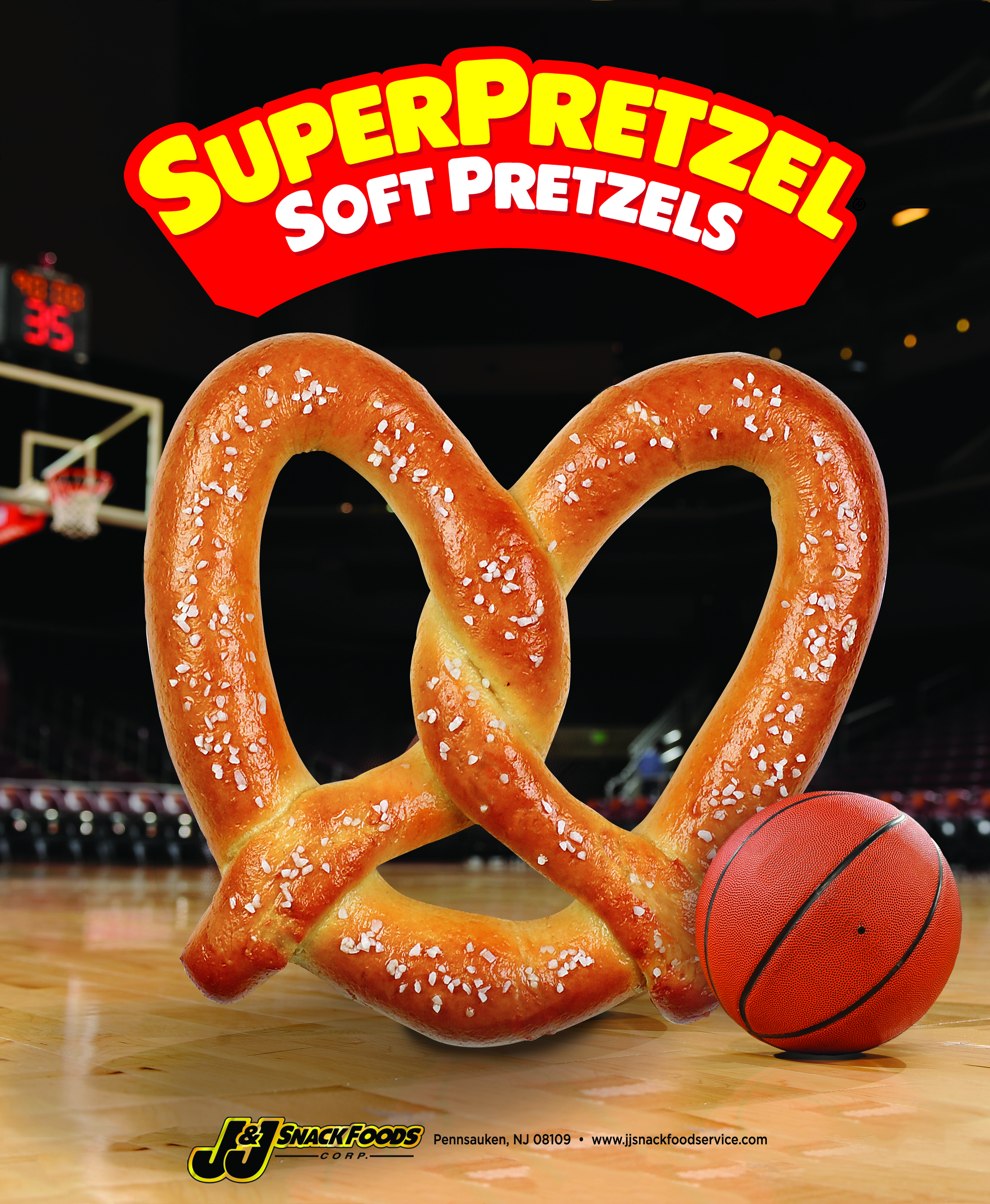 SUPERPRETZEL® Soft Pretzel King Size Basketball Themed Poster